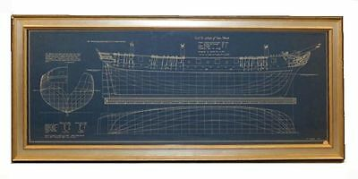 "FRAMED BLUEPRINT OF USS SLOOP OF  WAR ""WASP"" Ca 1805"