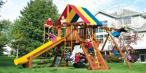 Wooden swing sets and play structures