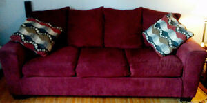 Darcy dark red couch and loveseat