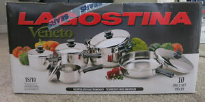 Brand new Lagostina 10-piece stainless steel cookware set