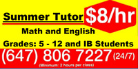 SUMMER MATH TUTORS $8/HR in Victoria Park Ave at Lawrence Ave Ea