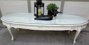 "TODAY SALE - VINTAGE SHABBY CHIC OVAL COFFEE TABLE 60"" WIDE"