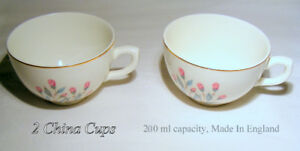 2 vintage China cups, England, white, gold trim, floral