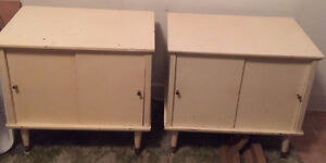 Vintage White End Tables/Cabinets