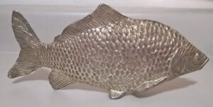 Vintage Modello Depositato Silver Carp Fish Letter Holder,