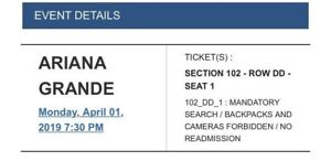Ariana Grande Montreal Ticket (Row 4 from stage)