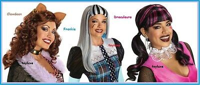 Monster High ADULT Wig Frankie Stein Draculaura Halloween Costume Dress Up - Frankie Stein Costume Adult