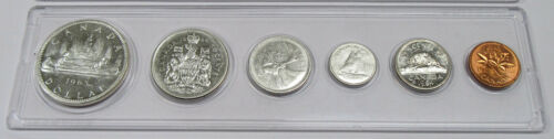 Canada 6- Coin Set - Silver Dollar, Half Dollar, Quarter, Dime, Nickel & Penny