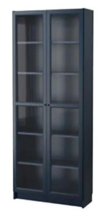 Dark Blue Bookcase with Glass Doors