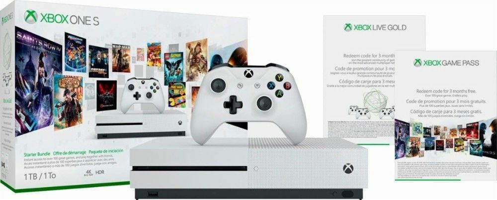 Microsoft Xbox One S 1TB Starter Bundle 4k Ultra Blu-Ray With 3 Month Game Pass