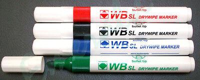 Whiteboard Drywipe Flip Chart Marker Pens Bullet Tip - 4 Assorted Colours