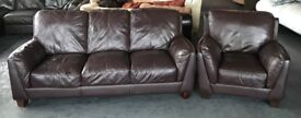 DFS Brown Thick Leather Sofa Set.CAN DELIVER
