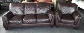 Thick Heavy Brown Leather 3&1 Seater Sofa Set.CAN DELIVER