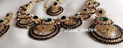 Indian/Pakistani Bollywood Style Kundan Necklace Set With Earrings And Tikka