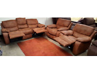 3 seater recliner Harveys sofa and 2 chairs - chocolate.