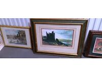 14 framed paintings and prints with 3 framed mirrors over 1 meter wide