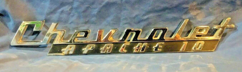 Vintage 1960 Chevrolet Chevy Apache 10 Fender Hood Emblem Chrome Badge - Nice!