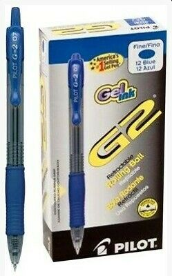 Pilot G2 Gel Pen Retractable Refillable Blue Ink 0.7mm Dozen Pil31021