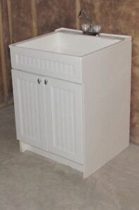 Vanity Utility Sink and Large White Drawer Cabinet with Hardware