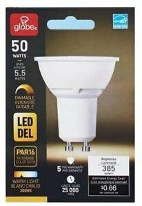 GLOBE LED PAR16 WARM LIGHT 3000K GU10 5.5 WATT BULB HALOGEN