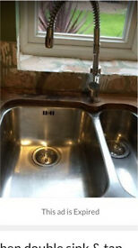 Large Kitchen sink with flexible tap
