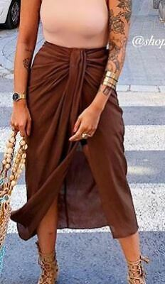 Zara Brown Skirt With Pleated Detail At Waist Sz S **SEE DETAILS BELOW**
