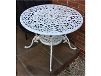 Garden table and chairs white metal