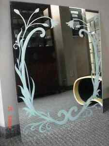 Art Nouveau Custom Sandblasted Design Mirror, with clips