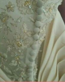 Stunning pale gold vintage inspired wedding dress 16 NEW