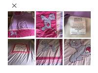 Girls next blackout curtains and duvet set. Kitten motif pink and lilac