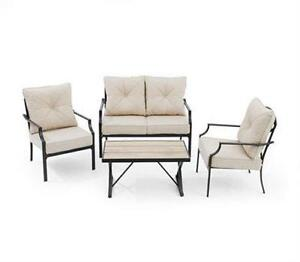 4-piece patio set incl love seat, table, 2 chairs