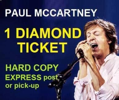 1 DIAMOND Ticket Paul McCartney PERTH NIB STADIUM | SEC B7 ROW A