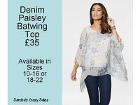Denim Paisley Batwing Top