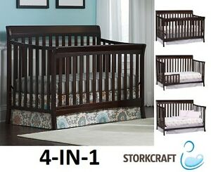 NEW STORK CRAFT 4--IN-1 CONVERTIBLE AVALON CRIB - ESPRESSO