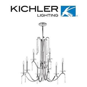 NEW KL 9 LIGHT 2 TIER CHANDELIER - 123149240 - KICHLER LIGHTING TARA CHROME FINISH W/ CLEAR CRYSTAL GLASS ACCENTS