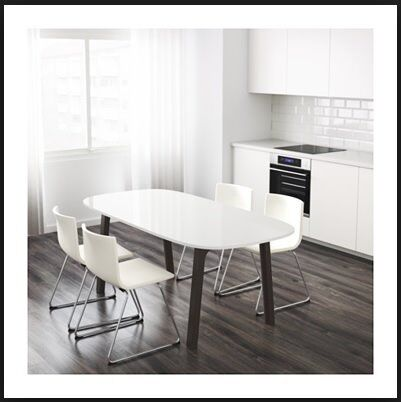 ikea white gloss dining table oppeby tabletop and vastana under frame only 6 months