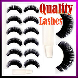 6 Pair Black Thick Long False Eyelashes Fake Eye Lashes With Glue Make Up ★6A★
