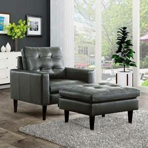 NEW* NORSTAD CLUB CHAIR AND OTTOMAN ST1233-GRY 224673349 GREY BONDED LEATHER