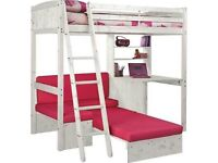 Bunk bed with desk, shelves and sofa bed