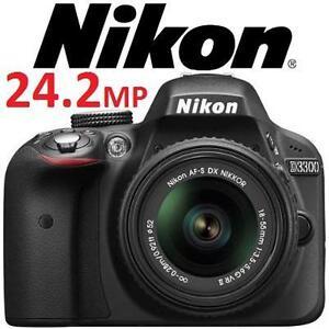 NEW OB NIKON D3300 24.2MP CAMERA CMOS Digital SLR Camera with 18-55mm Zoom Lens - BLACK - NEW OPEN BOX 100968505