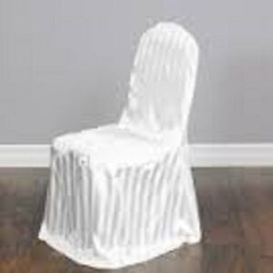 WHITE STRIPED SATIN CHAIR COVERS FOR SALE -100/125/150