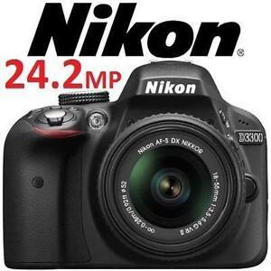 REFURB NIKON D3300 24.2MP CAMERA - 121902928 - CMOS Digital SLR Camera with 18-55mm Zoom VR II Lens - BLACK