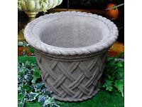 Christmas Tree Large Stone Pot - Basket Weave Design