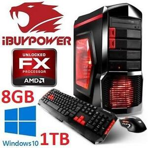 REFURB IBUYPOWER DESKTOP GAMING PC - 117807119 - AMD 8-Core FX-8320 Processor 8GB RAM 1TB HDD WIN10 KEYBOARD MOUSE