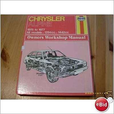 CHRYSLER ALPINE 1975  78 HAYNES WORKSHOP MANUAL No 337  ALL MODELS