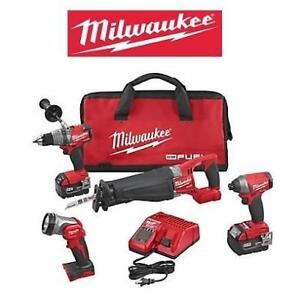 NEW MILWAUKEE M18 4 TOOL COMBO KIT 2896-24 179377525 POWER DRILL DRIVER SAW 18V