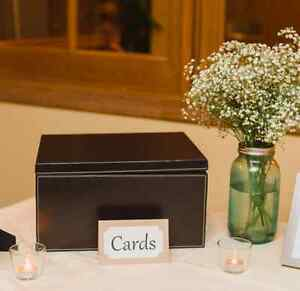 Rustic-chic wedding décor, frames, mason jars, card box and more