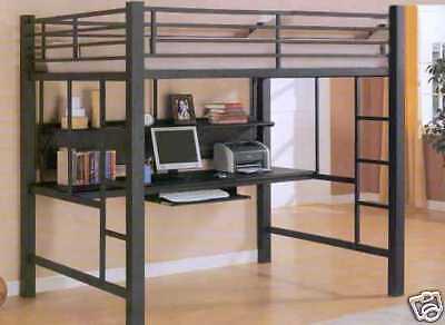 BLACK METAL FULL LOFT YOUTH BUNK BED & DESK WORKSTATION BEDROOM FURNITURE ()