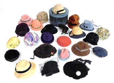 Vintage hats, mostly c. 1920's - 1950's, women and child sizes, 15+ p... Lot 284