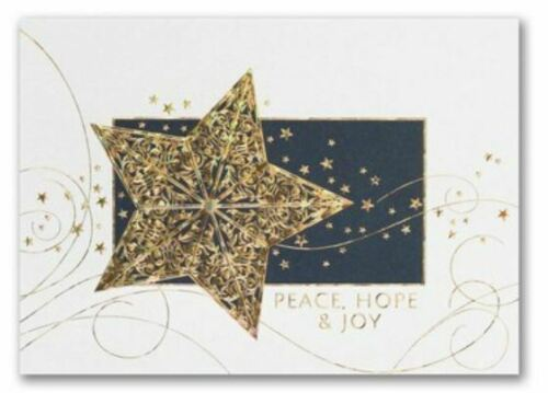 Personalized Greeting Holiday Christmas Cards Gold Prismatic Foil Star